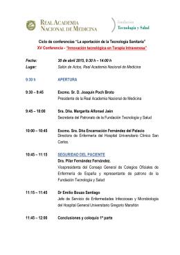 """Ciclo de conferencias """"La aportación de la tecnología sanitaria"""""""