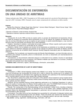 Documentación de Enfermería en una Unidad de Arritmias