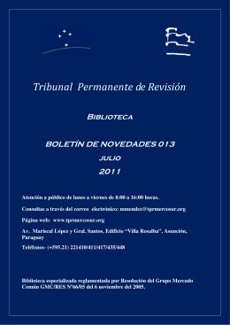 Boletín de Novedades 13 - Jul/2011