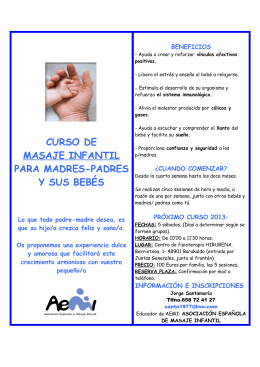 curso de masaje infantil para madres-padres y sus bebés