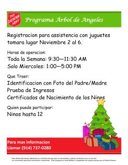 Registracion para assistencia con juguetes tomara lugar Noviembre