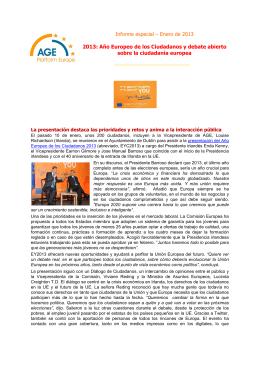 Informe especial – Enero de 2013 2013: Año Europeo de los