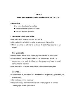 TEMA 3 PROCEDIMIENTOS DE RECOGIDA DE DATOS
