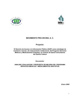 MOVIMIENTO PRO-VECINO, A. C. Proyecto: