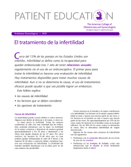 Patient Education Pamphlet, SP137, El tratamiento de la infertilidad