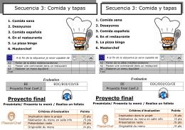 Proyecto final Proyecto final Secuencia 3: Comida y tapas