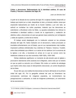 Cultos y devociones. Reforzamiento de la identidad católica. El caso