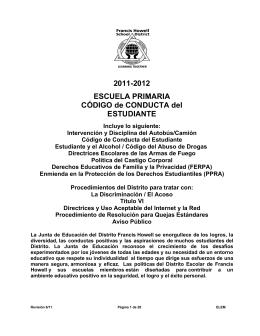 2011-2012 ESCUELA PRIMARIA CÓDIGO de CONDUCTA del