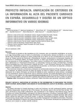 proyecto infoalta. unificación de criterios en la información al alta del