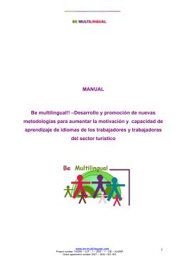 MANUAL Be multilingual!! –Desarrollo y promoción de nuevas