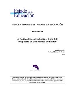 """La Política Educativa """"Hacia el Siglo XXI: propuesta de una política"""