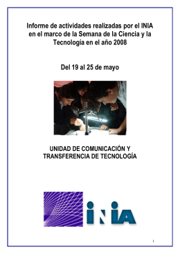 Informe de actividades realizadas por el INIA en el marco de la