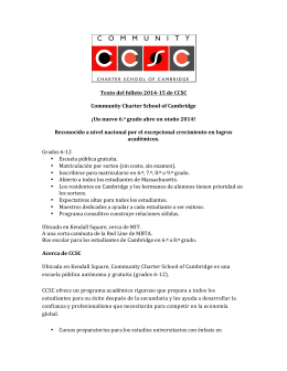 Texto del folleto 2014-‐15 de CCSC Community Charter School of Ca