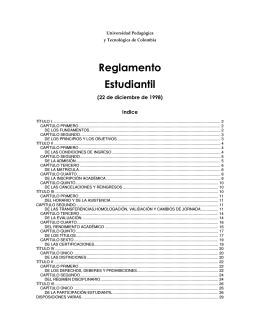 Reglamento Estudiantil - Universidad Pedagogica y Tecnologica de