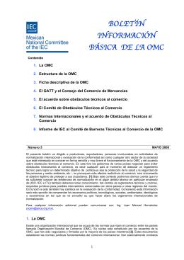 BOLETÍN INFORMACIÓN BÁSICA DE LA OMC