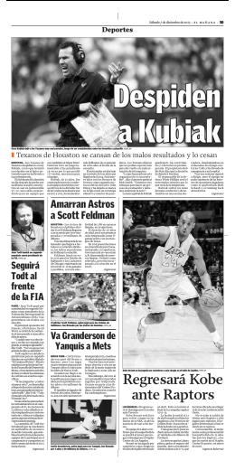 Despiden a Kubiak - El Mañana de Nuevo Laredo
