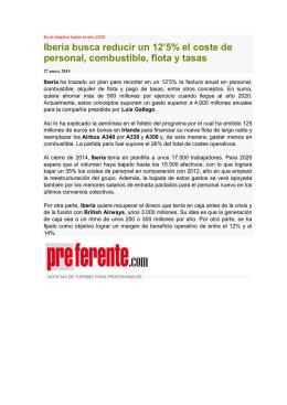 Iberia busca reducir un 12`5% el coste de personal, combustible