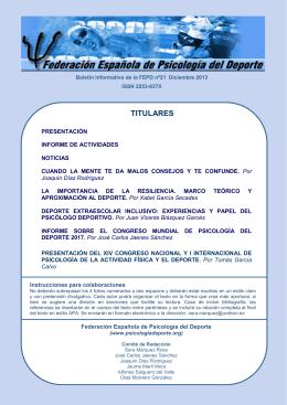 Boletín 21 - Federación Española de Psicología del Deporte