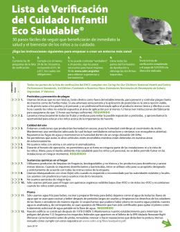 Lista de Verificación del Cuidado Infantil Eco Saludable®