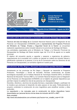 Gacetilla 34 de CONADIS - Agosto de 2014 Nacionales Jornada