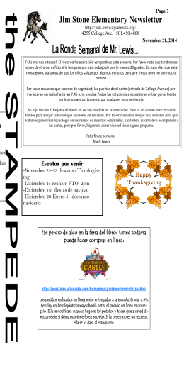 Jim Stone Elementary Newsletter
