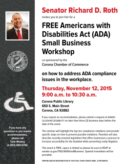 FREE Americans with Disabilities Act (ADA) Small Business Workshop