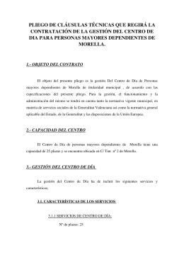 PLIEGO DE CLÁUSULAS TÉCNICAS QUE REGIRÁ LA