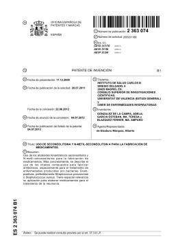 ES2363074 (B1) - Instituto de Salud Carlos III