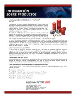Información sobre productos - Filtros hidráulicos