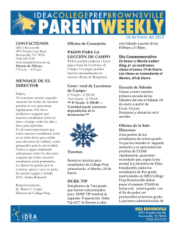 16 de Enero del 2015-Parent Weekly Espanol