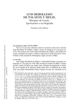 Luis Rebolledo de Palafox y Melzi, Marqués De Lazán. Aportación a
