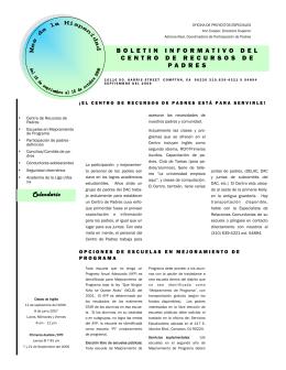 Calendario BOLETIN INFORMATIVO DEL CENTRO DE