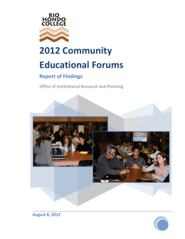 2012 Community Educational Forums Report