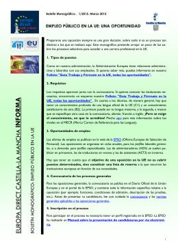 Boletín Monográfico 1/2015. EMPLEO PÚBLICO EN LA UE