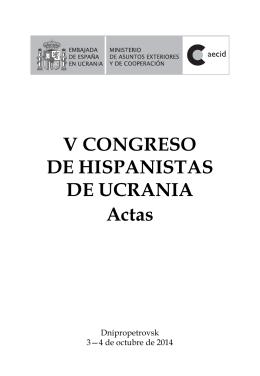 V CONGRESO DE HISPANISTAS DE UCRANIA Actas