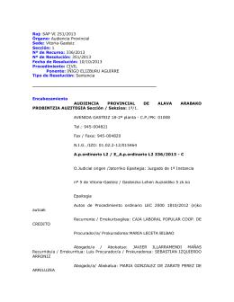 Roj: SAP VI 251/2013 Órgano: Audiencia Provincial Sede: Vitoria