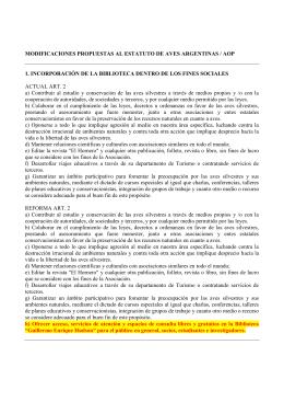 modificaciones propuestas al estatuto de aves argentinas / aop 1