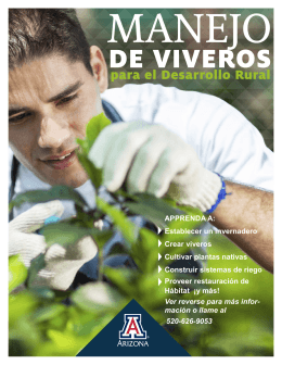 MANEJO DE VIVEROS para el Desarrollo Rural