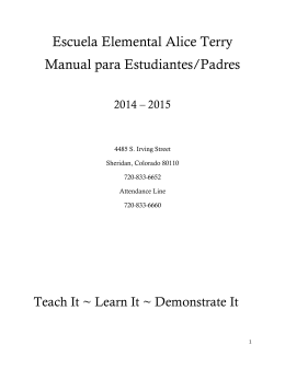 Escuela Elemental Alice Terry Manual para Estudiantes/Padres
