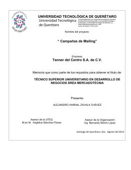 Tanner del Centro SA de CV - Universidad Tecnológica de Querétaro