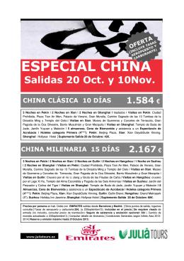 OFERTA CHINA ESPECIAL 4* 20OCT y