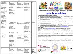 ¡Programas Educativos de Verano de la Biblioteca Pública de