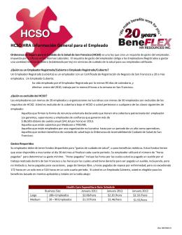 HCSO HRA Información General para el Empleado