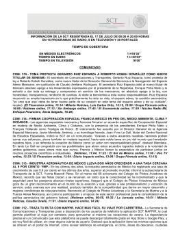 información de la sct registrada el 17 de julio de 08:00 a 20:00