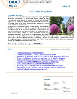 Boletín DAAD México 04/2015 Estimados lectores: ¡Qué disfruten la