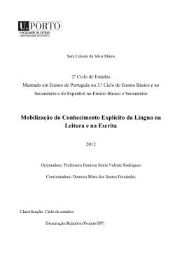 Mobilização do Conhecimento Explícito da Língua na Leitura e na