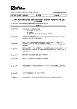 Tarifa de Comisiones, Condiciones y Gastos