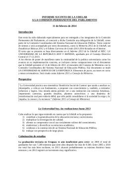 Informe sucinto de la Udelar a la Comisión Permanente del