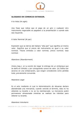 GLOSARIO EN COMERCIO EXTERIOR