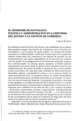 EL SÍNDROME DE PANTALEÓN: POLÍTICA Y ADMINISTRACIÓN